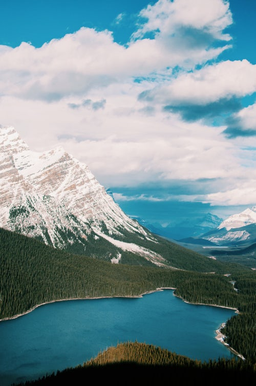 View of the mountain and the lake Peyto in Canada